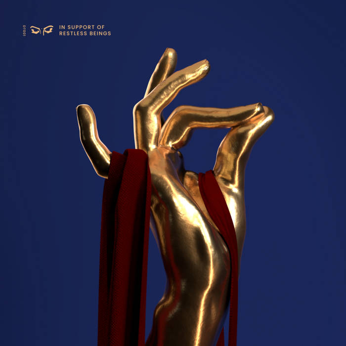 An image of the Daytimers DT001 compilation cover, featuring a navy blue background and a sculpture of a golden hand, touching finger to thumb with a red ribbon threaded through it.